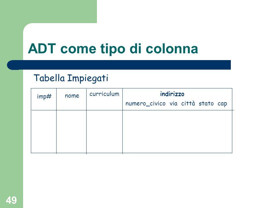 48 ADT come tipo di colonna Gli ADT possono essere usati come tipi di una colonna di una relazione CREATE TABLE Impiegati ( imp# id_impiegato, nome CHAR(20), curriculum TEXT, indirizzo t_indirizzo);