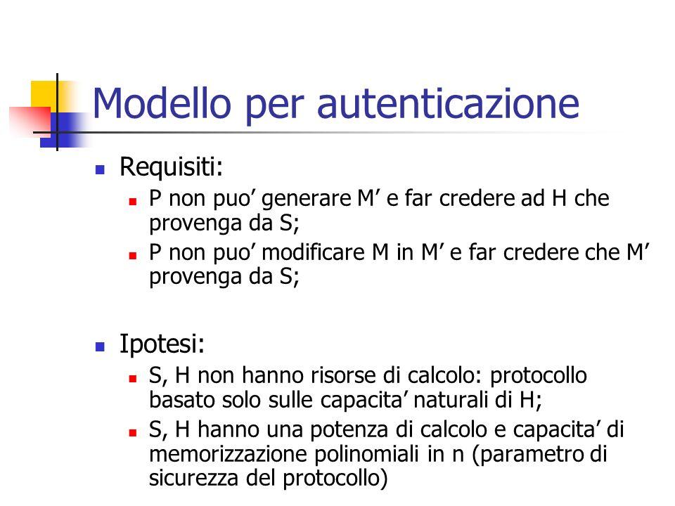 Modello per autenticazione Requisiti: P non puo generare M e far credere ad H che provenga da S; P non puo modificare M in M e far credere che M prove