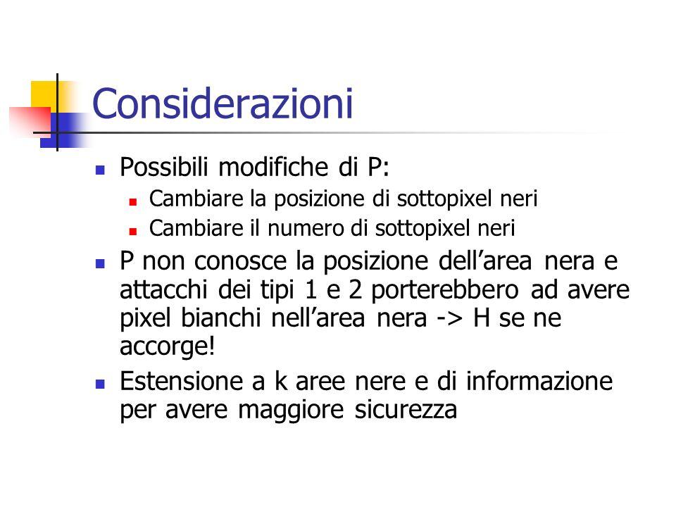 Considerazioni Possibili modifiche di P: Cambiare la posizione di sottopixel neri Cambiare il numero di sottopixel neri P non conosce la posizione del