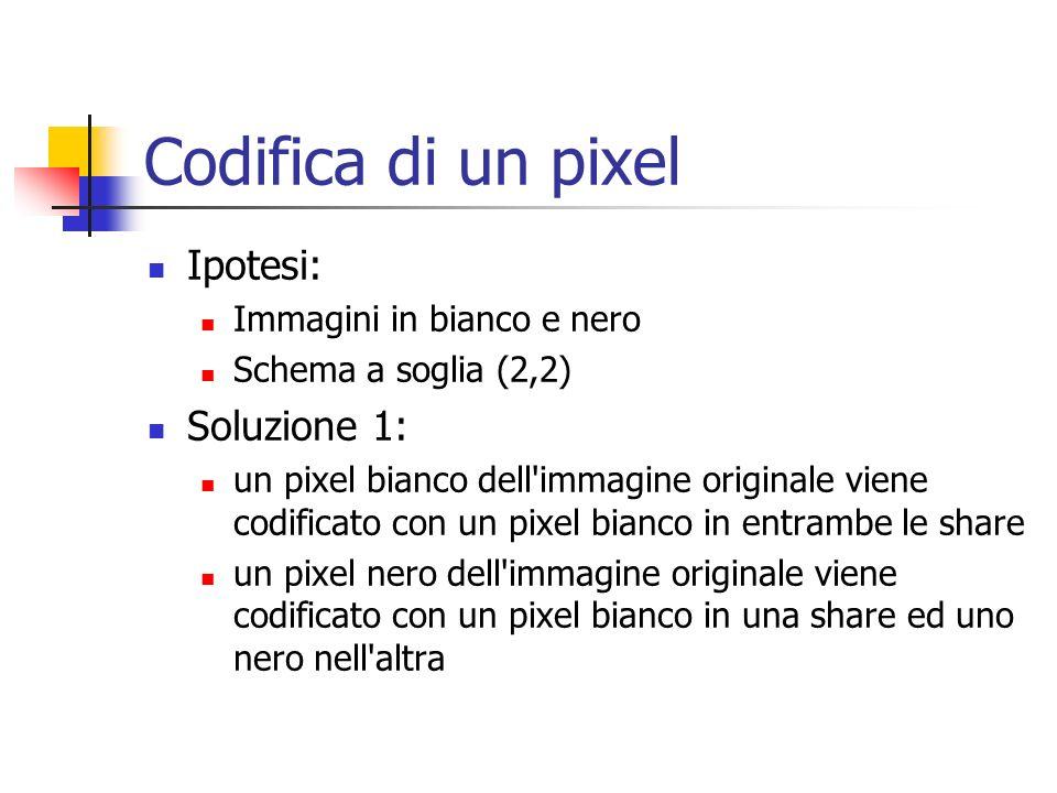 Codifica di un pixel Ipotesi: Immagini in bianco e nero Schema a soglia (2,2) Soluzione 1: un pixel bianco dell'immagine originale viene codificato co