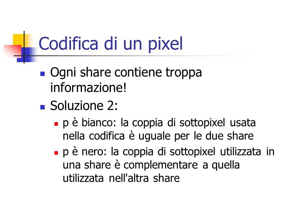 Codifica di un pixel Ogni share contiene troppa informazione! Soluzione 2: p è bianco: la coppia di sottopixel usata nella codifica è uguale per le du