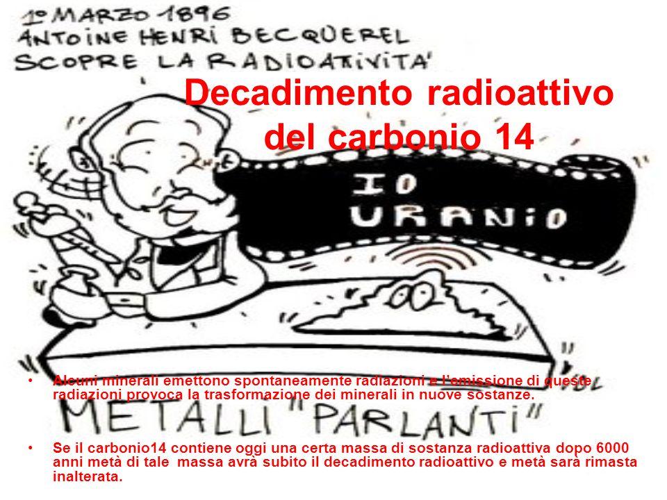 Decadimento radioattivo del carbonio 14 Alcuni minerali emettono spontaneamente radiazioni e lemissione di queste radiazioni provoca la trasformazione dei minerali in nuove sostanze.