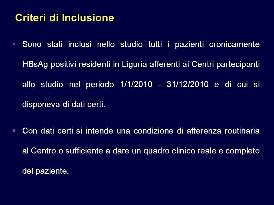 Criteri di Inclusione Sono stati inclusi nello studio tutti i pazienti cronicamente HBsAg positivi residenti in Liguria afferenti ai Centri partecipanti allo studio nel periodo 1/1/2010 - 31/12/2010 e di cui si disponeva di dati certi.