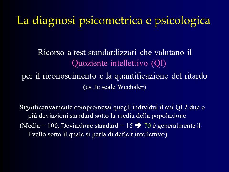 La diagnosi psicometrica e psicologica Ricorso a test standardizzati che valutano il Quoziente intellettivo (QI) per il riconoscimento e la quantifica