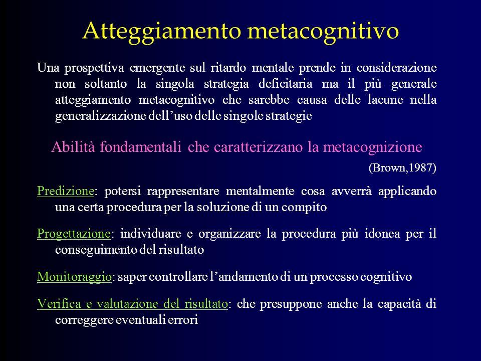 Atteggiamento metacognitivo Una prospettiva emergente sul ritardo mentale prende in considerazione non soltanto la singola strategia deficitaria ma il