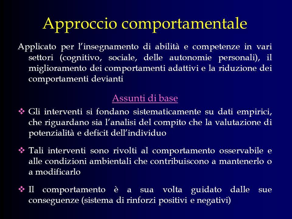 Approccio comportamentale Applicato per linsegnamento di abilità e competenze in vari settori (cognitivo, sociale, delle autonomie personali), il migl