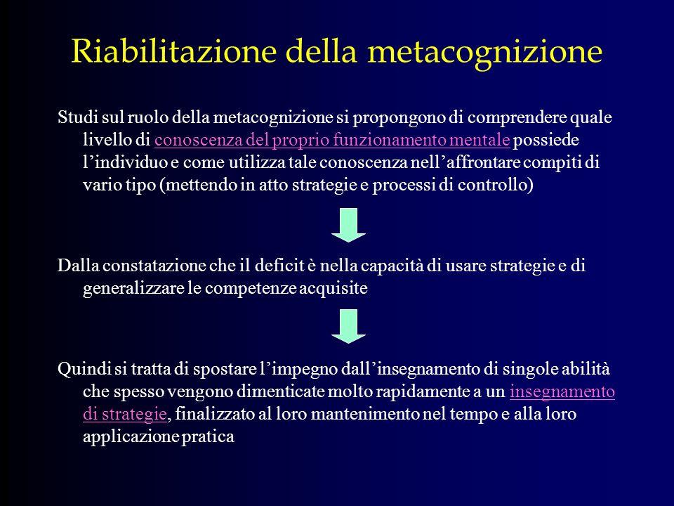 Riabilitazione della metacognizione Studi sul ruolo della metacognizione si propongono di comprendere quale livello di conoscenza del proprio funziona