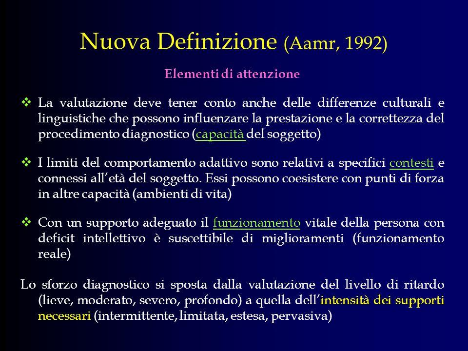 Nuova Definizione (Aamr, 1992) Elementi di attenzione La valutazione deve tener conto anche delle differenze culturali e linguistiche che possono infl