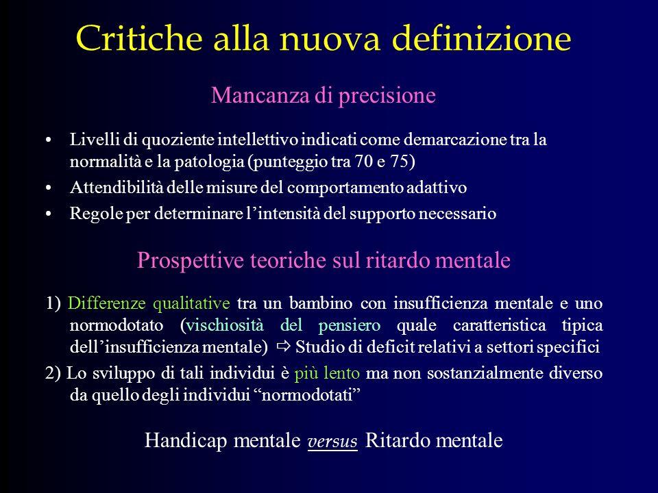 Critiche alla nuova definizione Mancanza di precisione Livelli di quoziente intellettivo indicati come demarcazione tra la normalità e la patologia (p