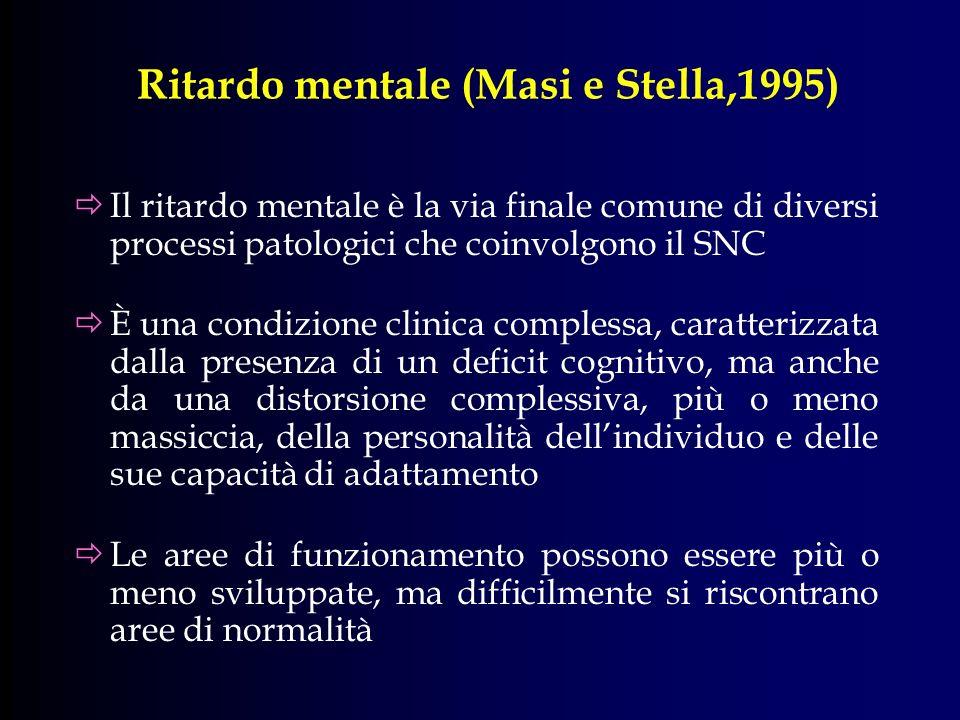 Ritardo mentale (Masi e Stella,1995) Il ritardo mentale è la via finale comune di diversi processi patologici che coinvolgono il SNC È una condizione