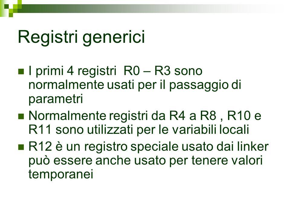 Registri generici I primi 4 registri R0 – R3 sono normalmente usati per il passaggio di parametri Normalmente registri da R4 a R8, R10 e R11 sono util