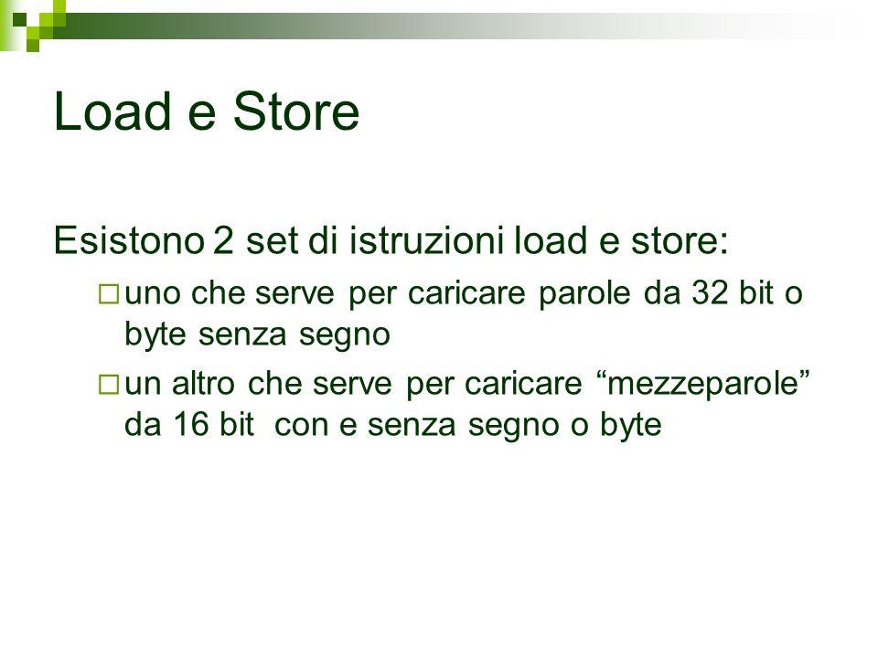 Load e Store Esistono 2 set di istruzioni load e store: uno che serve per caricare parole da 32 bit o byte senza segno un altro che serve per caricare