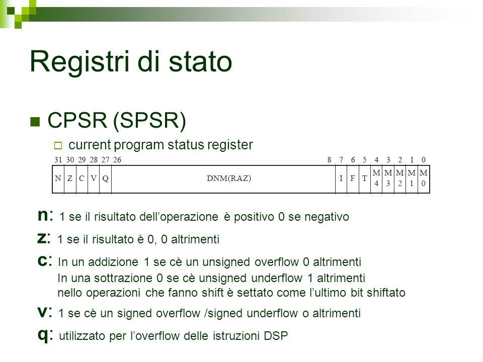 Registri di stato CPSR (SPSR) current program status register n: 1 se il risultato delloperazione è positivo 0 se negativo z: 1 se il risultato è 0, 0