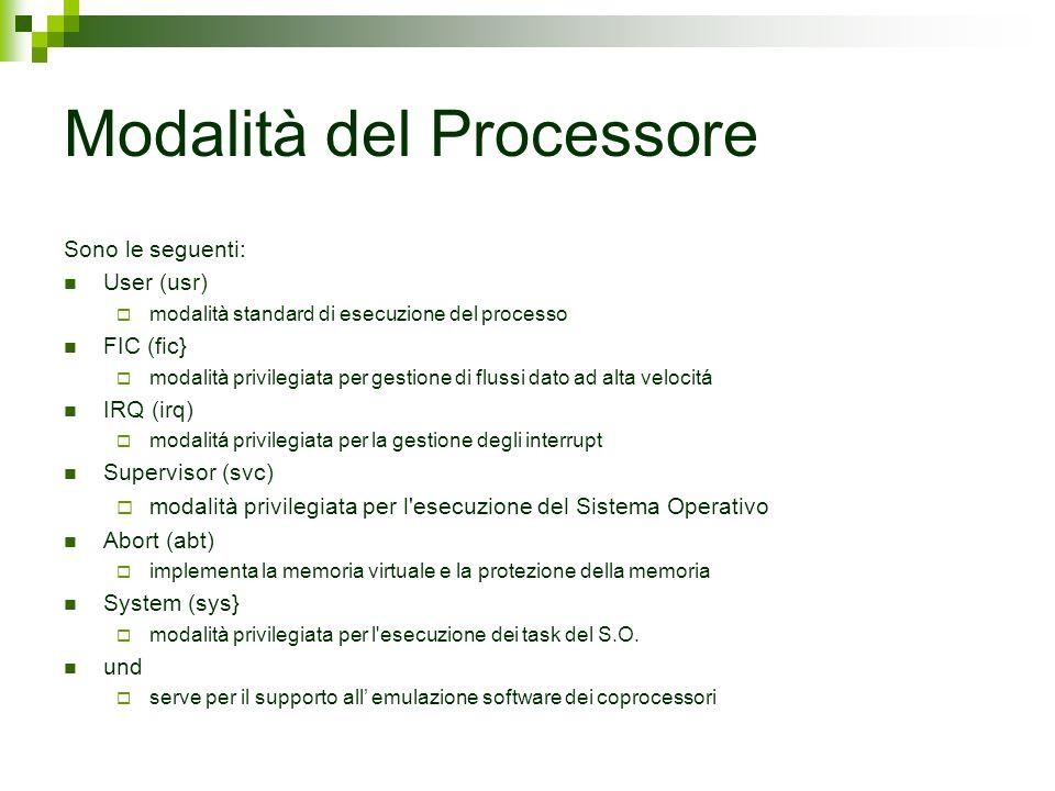 Modalità del Processore Sono le seguenti: User (usr) modalità standard di esecuzione del processo FIC (fic} modalità privilegiata per gestione di flus