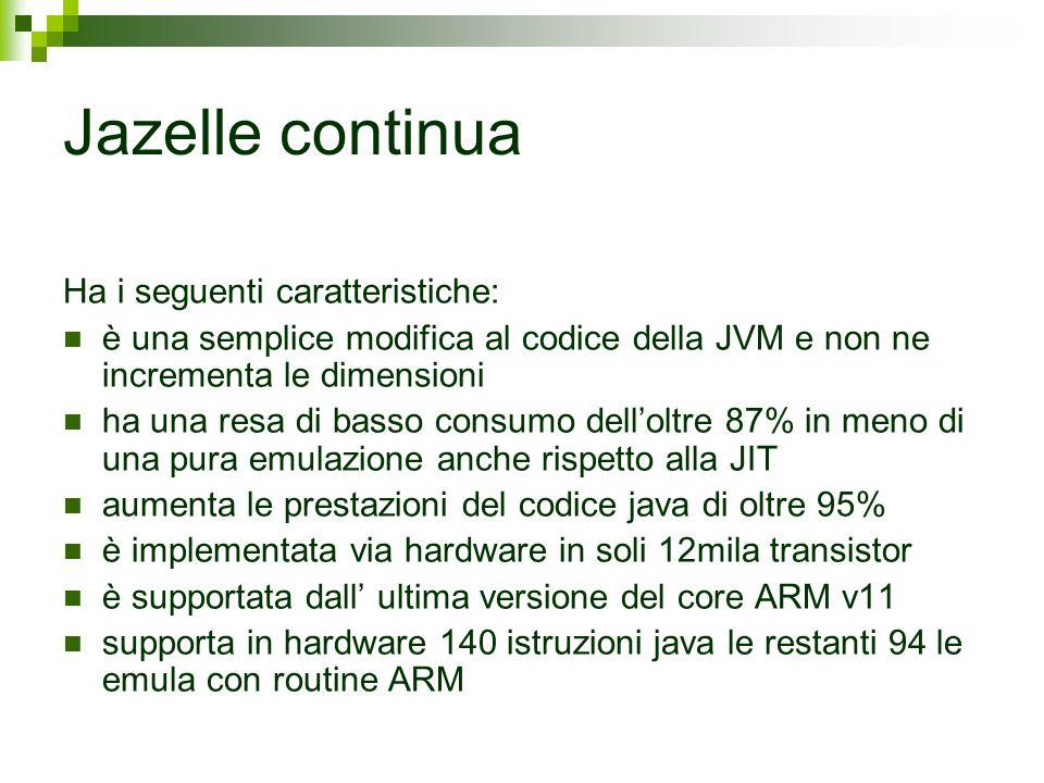 Jazelle continua Ha i seguenti caratteristiche: è una semplice modifica al codice della JVM e non ne incrementa le dimensioni ha una resa di basso con
