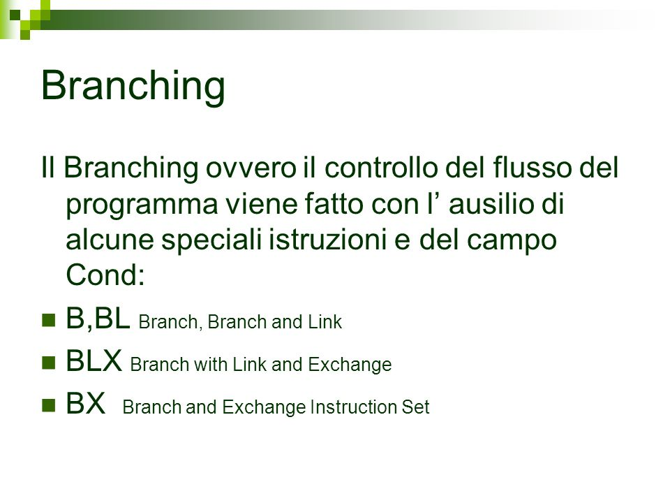 Branching Il Branching ovvero il controllo del flusso del programma viene fatto con l ausilio di alcune speciali istruzioni e del campo Cond: B,BL Branch, Branch and Link BLX Branch with Link and Exchange BX Branch and Exchange Instruction Set