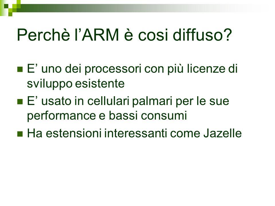 Perchè lARM è cosi diffuso? E uno dei processori con più licenze di sviluppo esistente E usato in cellulari palmari per le sue performance e bassi con