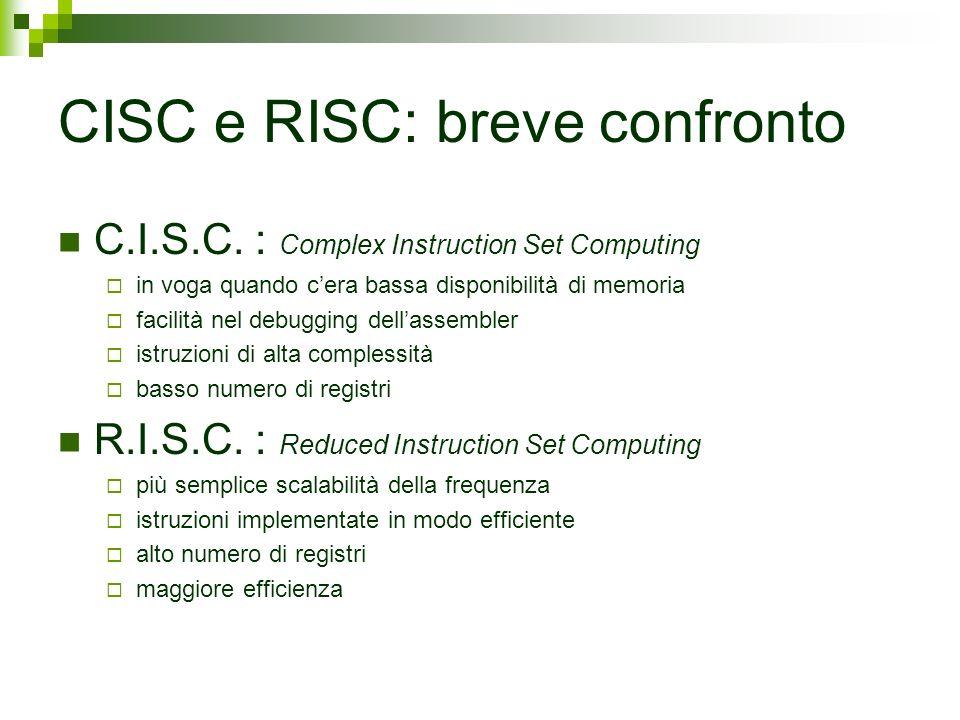CISC e RISC: breve confronto C.I.S.C. : Complex Instruction Set Computing in voga quando cera bassa disponibilità di memoria facilità nel debugging de
