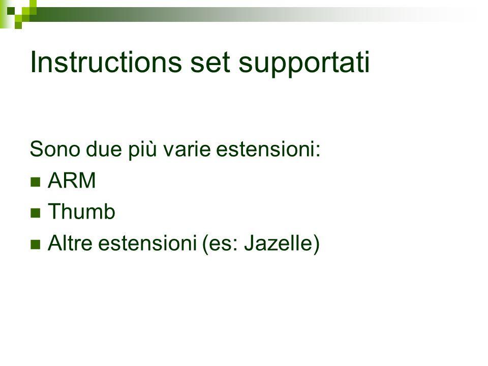 Instructions set supportati Sono due più varie estensioni: ARM Thumb Altre estensioni (es: Jazelle)