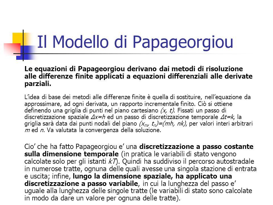 Il Modello di Papageorgiou Le equazioni di Papageorgiou derivano dai metodi di risoluzione alle differenze finite applicati a equazioni differenziali alle derivate parziali.