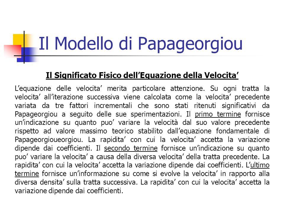 Il Modello di Papageorgiou Il Significato Fisico dellEquazione della Velocita Lequazione delle velocita merita particolare attenzione.