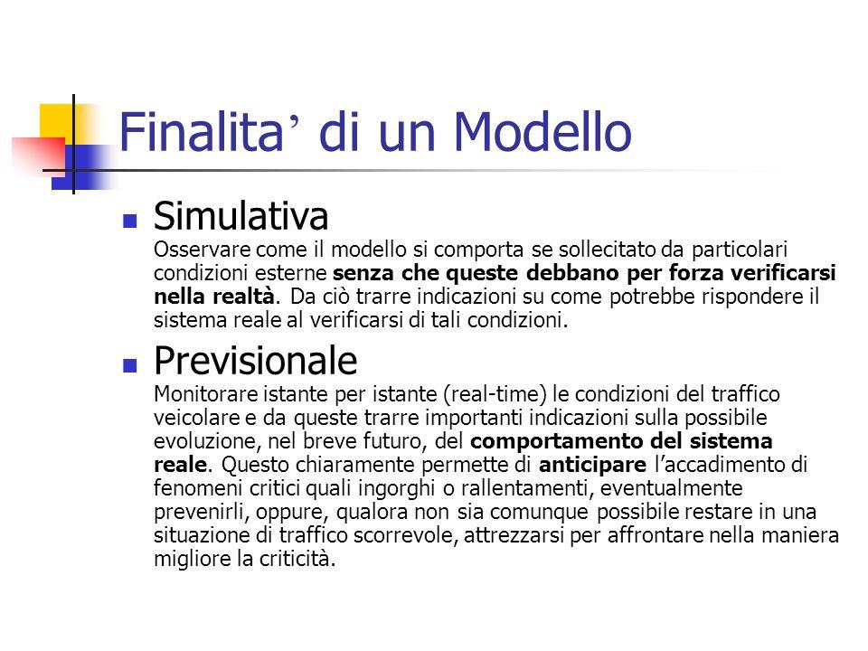 Finalita di un Modello Simulativa Osservare come il modello si comporta se sollecitato da particolari condizioni esterne senza che queste debbano per forza verificarsi nella realtà.