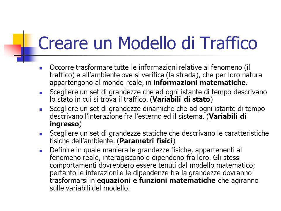 Creare un Modello di Traffico Occorre trasformare tutte le informazioni relative al fenomeno (il traffico) e allambiente ove si verifica (la strada), che per loro natura appartengono al mondo reale, in informazioni matematiche.