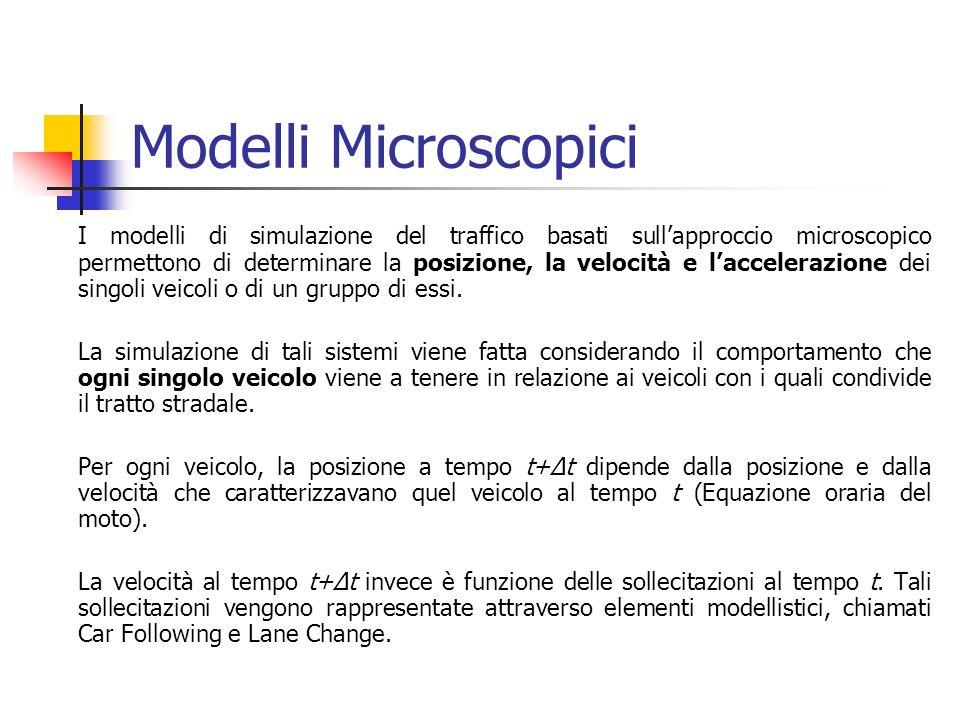 Modelli Microscopici I modelli di simulazione del traffico basati sullapproccio microscopico permettono di determinare la posizione, la velocità e laccelerazione dei singoli veicoli o di un gruppo di essi.