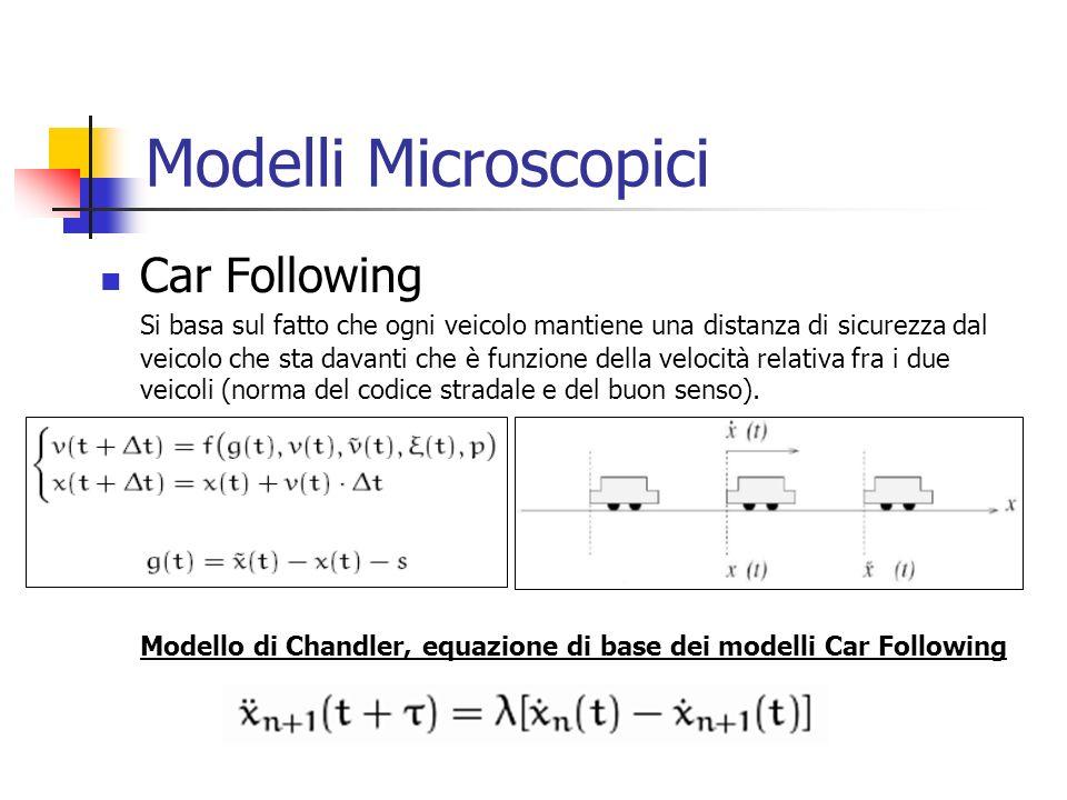 Modelli Microscopici Car Following Si basa sul fatto che ogni veicolo mantiene una distanza di sicurezza dal veicolo che sta davanti che è funzione della velocità relativa fra i due veicoli (norma del codice stradale e del buon senso).