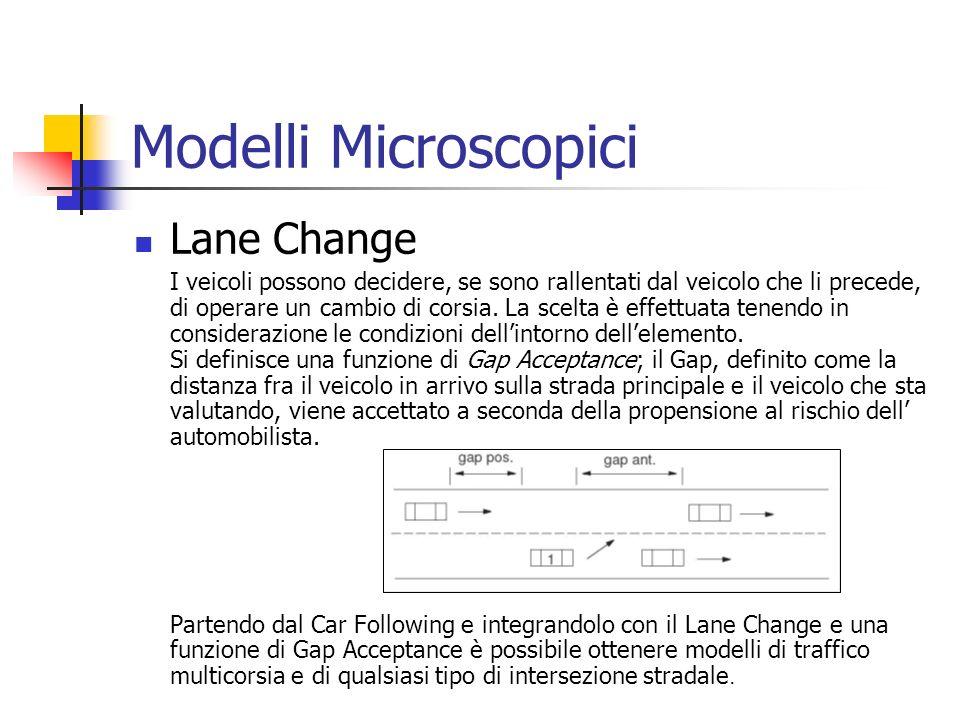 Modelli Microscopici Lane Change I veicoli possono decidere, se sono rallentati dal veicolo che li precede, di operare un cambio di corsia.