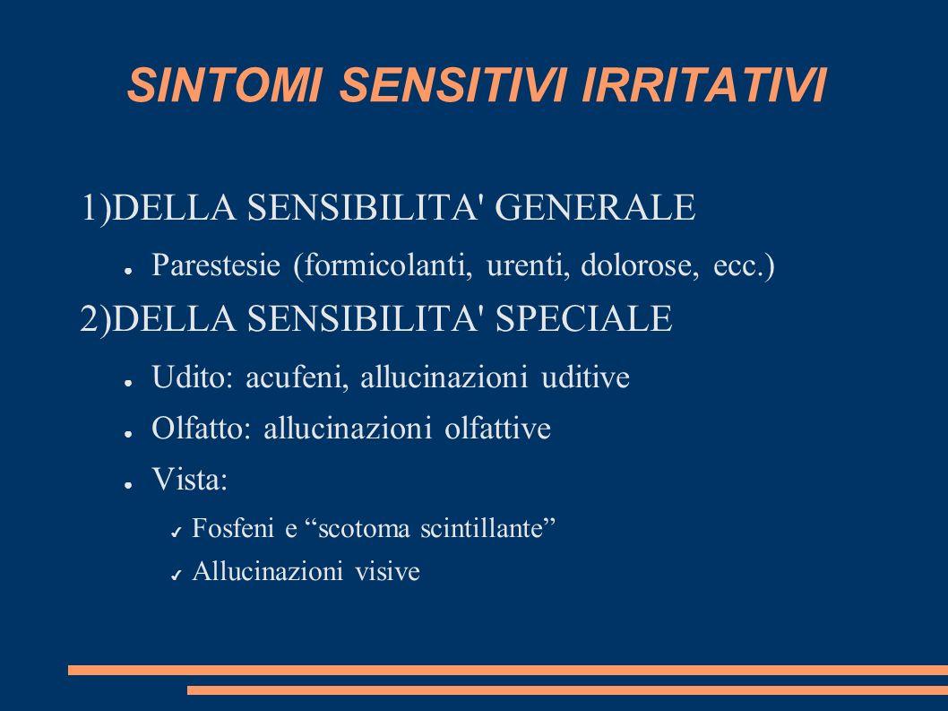 SINTOMI SENSITIVI IRRITATIVI 1)DELLA SENSIBILITA' GENERALE Parestesie (formicolanti, urenti, dolorose, ecc.) 2)DELLA SENSIBILITA' SPECIALE Udito: acuf