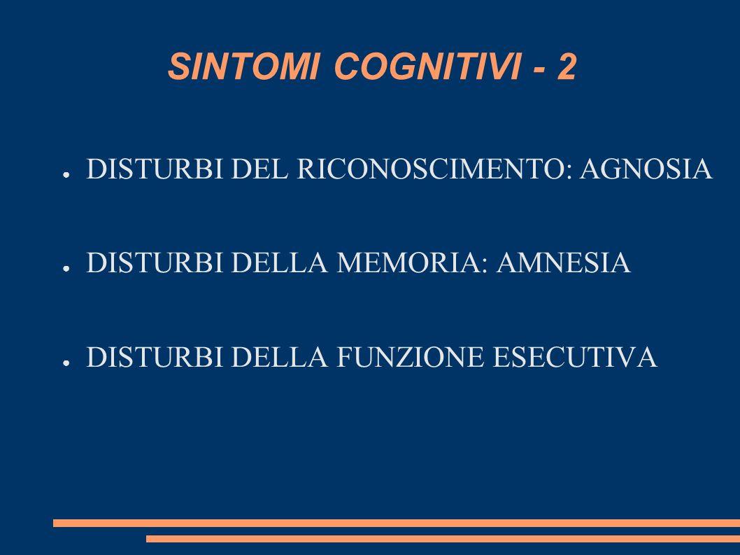 SINTOMI COGNITIVI - 2 DISTURBI DEL RICONOSCIMENTO: AGNOSIA DISTURBI DELLA MEMORIA: AMNESIA DISTURBI DELLA FUNZIONE ESECUTIVA