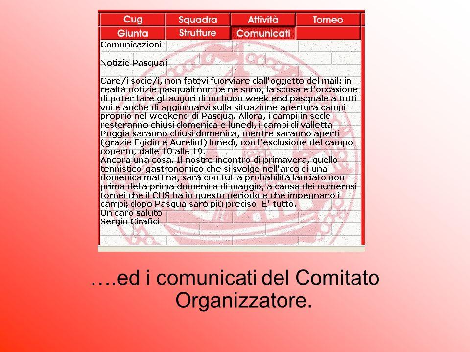 ….ed i comunicati del Comitato Organizzatore.