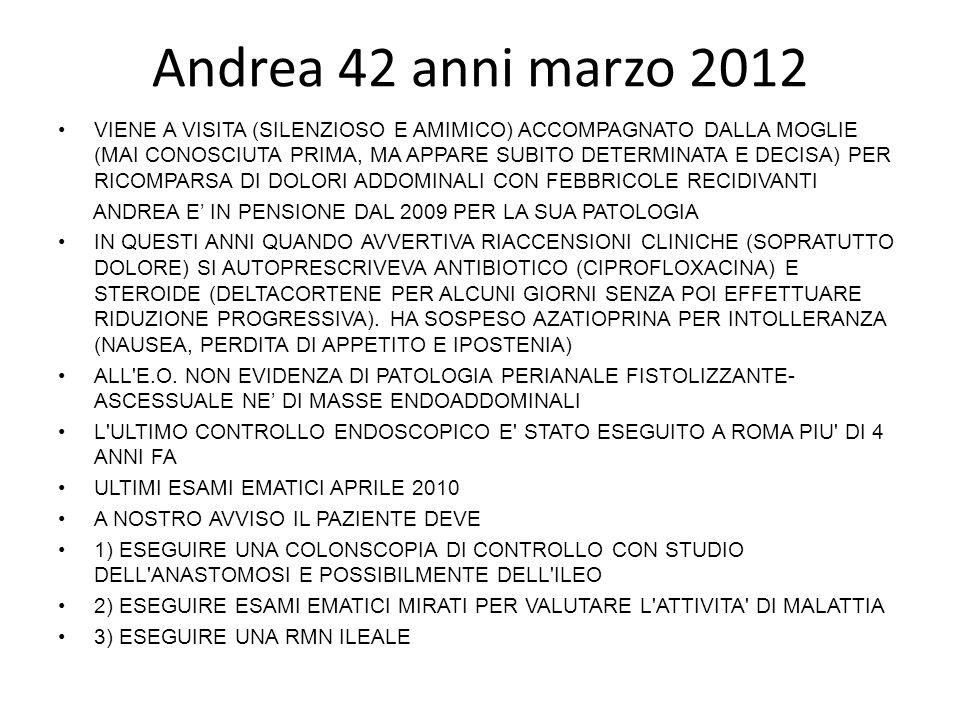 Andrea 42 anni marzo 2012 VIENE A VISITA (SILENZIOSO E AMIMICO) ACCOMPAGNATO DALLA MOGLIE (MAI CONOSCIUTA PRIMA, MA APPARE SUBITO DETERMINATA E DECISA