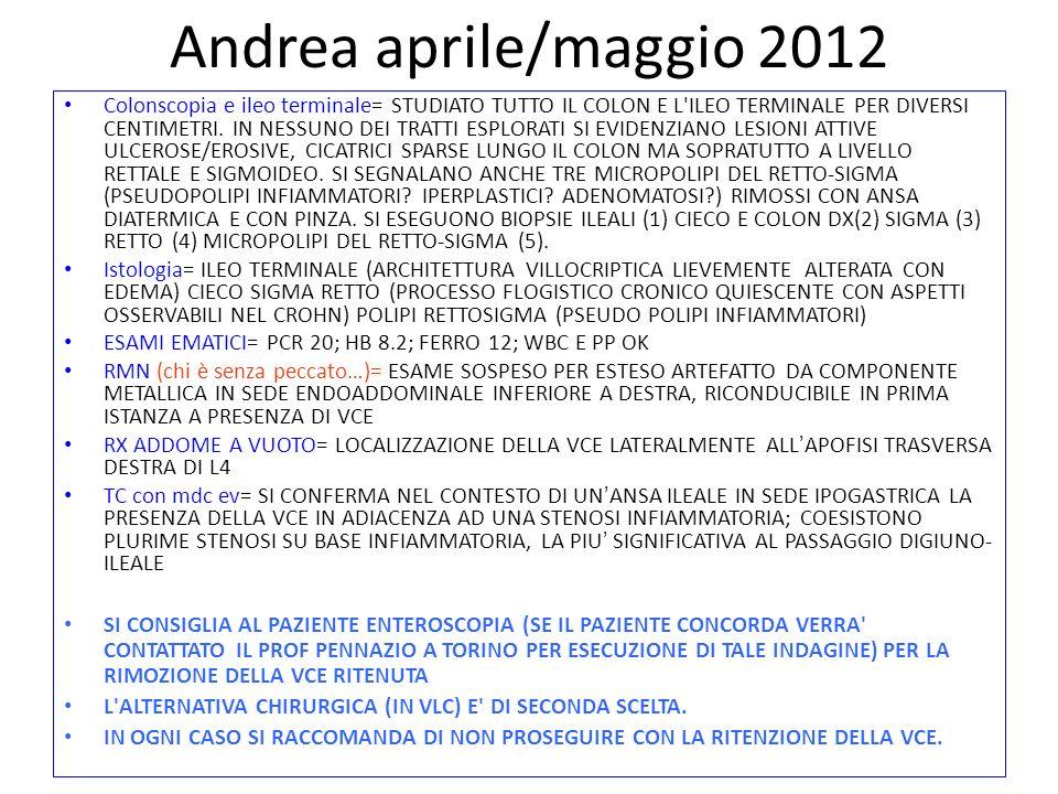 Andrea aprile/maggio 2012 Colonscopia e ileo terminale= STUDIATO TUTTO IL COLON E L'ILEO TERMINALE PER DIVERSI CENTIMETRI. IN NESSUNO DEI TRATTI ESPLO