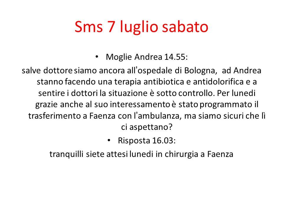 Sms 7 luglio sabato Moglie Andrea 14.55: salve dottore siamo ancora allospedale di Bologna, ad Andrea stanno facendo una terapia antibiotica e antidol