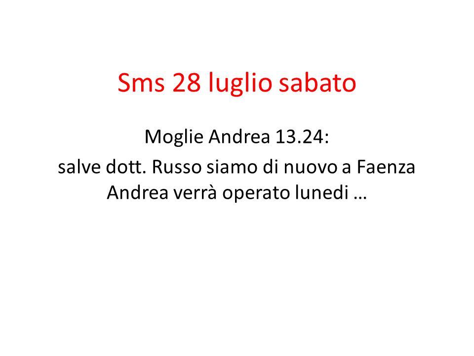 Sms 28 luglio sabato Moglie Andrea 13.24: salve dott. Russo siamo di nuovo a Faenza Andrea verrà operato lunedi …