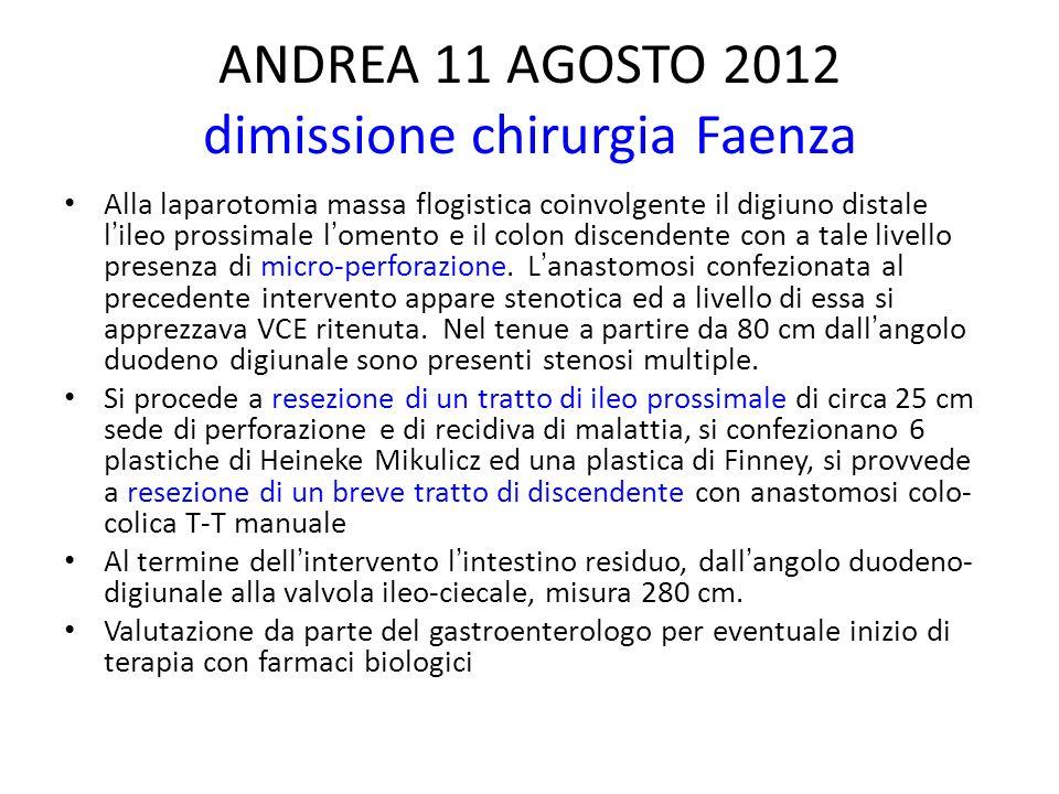 ANDREA 11 AGOSTO 2012 dimissione chirurgia Faenza Alla laparotomia massa flogistica coinvolgente il digiuno distale lileo prossimale lomento e il colo