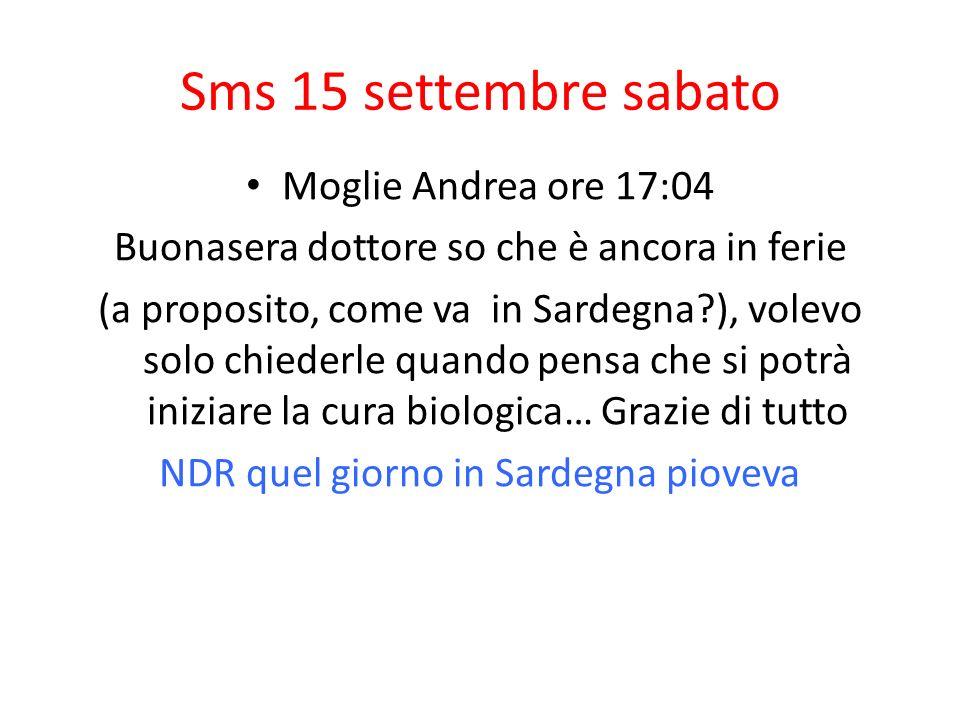 Sms 15 settembre sabato Moglie Andrea ore 17:04 Buonasera dottore so che è ancora in ferie (a proposito, come va in Sardegna?), volevo solo chiederle