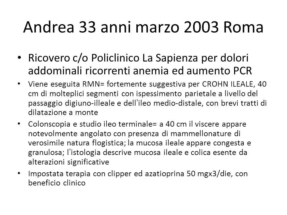 Andrea 33 anni marzo 2003 Roma Ricovero c/o Policlinico La Sapienza per dolori addominali ricorrenti anemia ed aumento PCR Viene eseguita RMN= forteme
