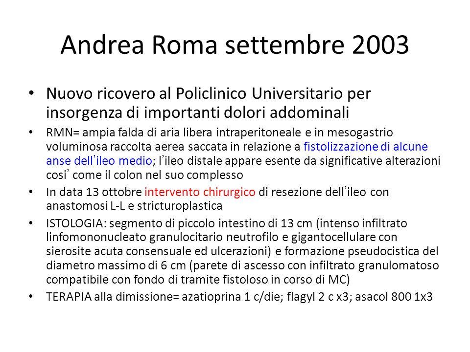 Andrea Roma settembre 2003 Nuovo ricovero al Policlinico Universitario per insorgenza di importanti dolori addominali RMN= ampia falda di aria libera