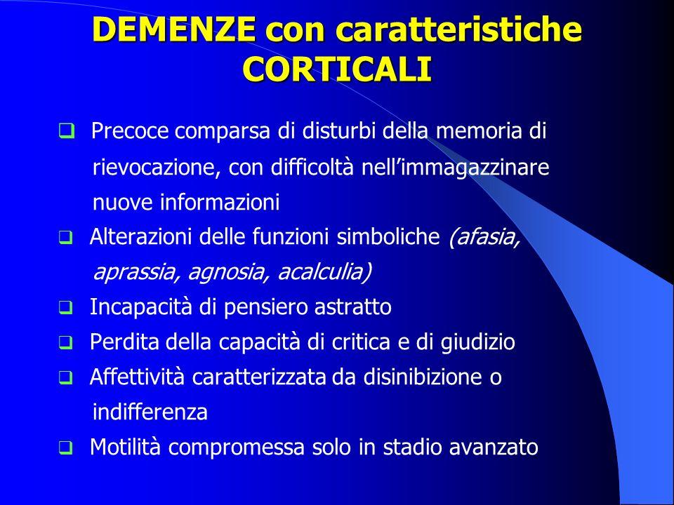 Classificazione in base alla sede delle lesioni: Demenze corticali Demenza di Alzheimer Demenza fronto-temporale (FTD) Demenza a corpi di Lewy diffusi Demenze sottocorticali Demenza vascolare Malattia di Parkinson Corea di Huntington Paralisi sopranucleare progressiva Degenerazione cortico-basale