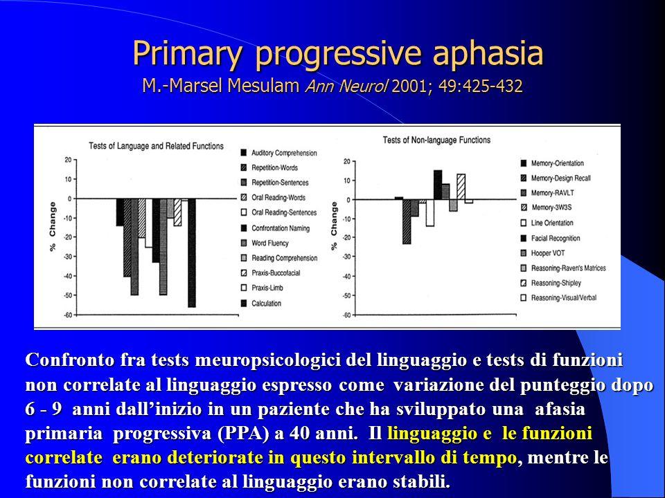 Primary progressive aphasia M.-Marsel Mesulam Ann Neurol 2001; 49:425-432 Primary progressive aphasia M.-Marsel Mesulam Ann Neurol 2001; 49:425-432 Co