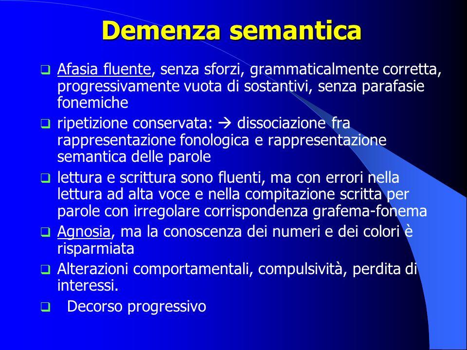 Demenza semantica Afasia fluente, senza sforzi, grammaticalmente corretta, progressivamente vuota di sostantivi, senza parafasie fonemiche ripetizione