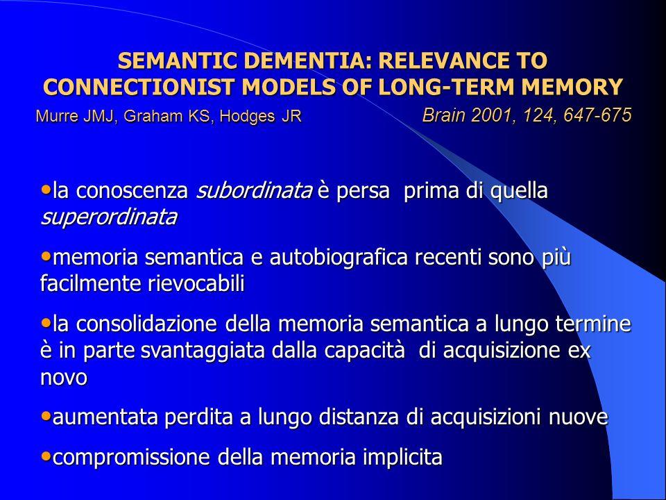 SEMANTIC DEMENTIA: RELEVANCE TO CONNECTIONIST MODELS OF LONG-TERM MEMORY Murre JMJ, Graham KS, Hodges JR Brain 2001, 124, 647-675 la conoscenza subord