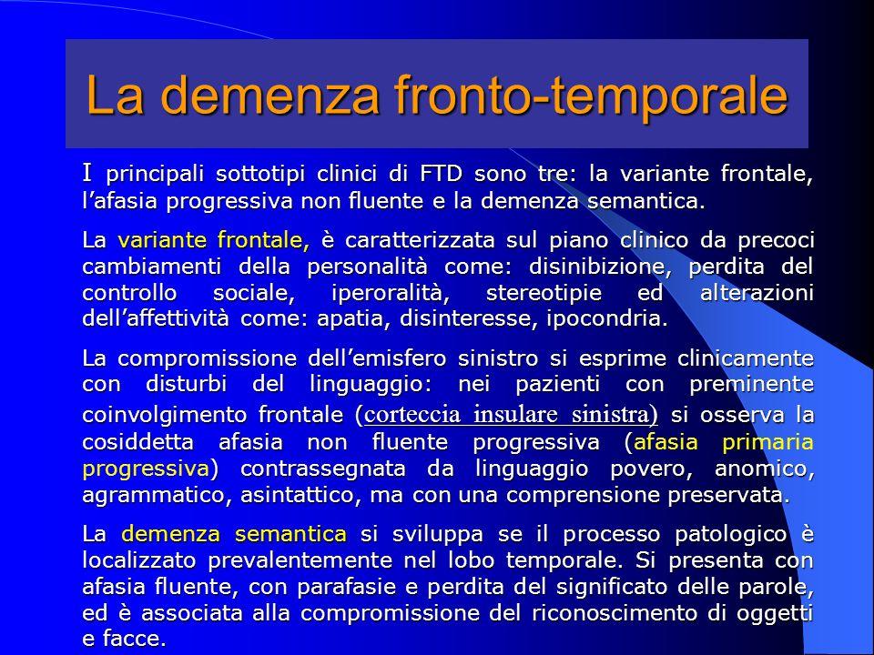La demenza fronto-temporale I principali sottotipi clinici di FTD sono tre: la variante frontale, lafasia progressiva non fluente e la demenza semanti