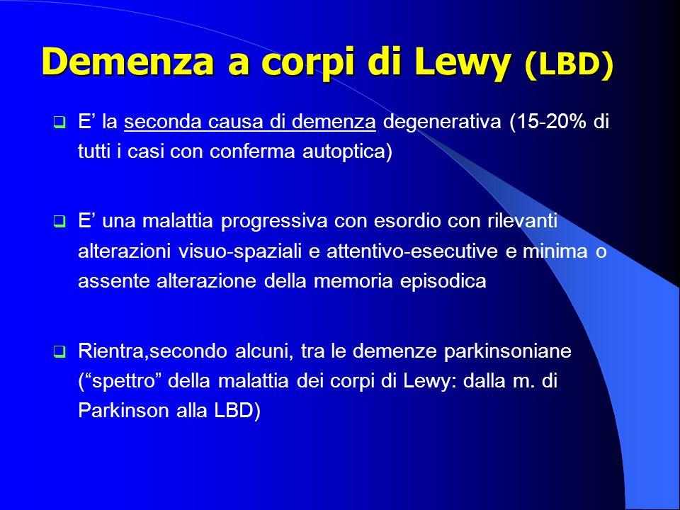 Demenza a corpi di Lewy (LBD) Demenza a corpi di Lewy (LBD) E la seconda causa di demenza degenerativa (15-20% di tutti i casi con conferma autoptica)