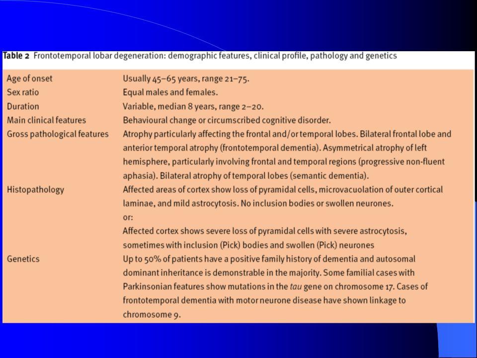 Demenza fronto-temporale FTD-bv Demenza fronto-temporale FTD-bv SEGNI NEUROLOGICI DI SUPPORTO Riflessi primitivi, incontinenza, acinesia, rigidità, tremore (nel corso della malattia): Demenza fronto-temporale con parkinsonismo (associata al cromosoma 17; FTDP-17) Riflessi primitivi, incontinenza, acinesia, rigidità, tremore (nel corso della malattia): Demenza fronto-temporale con parkinsonismo (associata al cromosoma 17; FTDP-17) Paralisi bulbare, deficit di forza e ipotrofia, fascicolazioni (in alcuni pazienti con segni di malattia del motoneurone: Demenza fronto- temporale con amiotrofia) Paralisi bulbare, deficit di forza e ipotrofia, fascicolazioni (in alcuni pazienti con segni di malattia del motoneurone: Demenza fronto- temporale con amiotrofia)