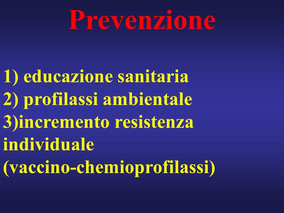 Prevenzione 1) educazione sanitaria 2) profilassi ambientale 3)incremento resistenza individuale (vaccino-chemioprofilassi)