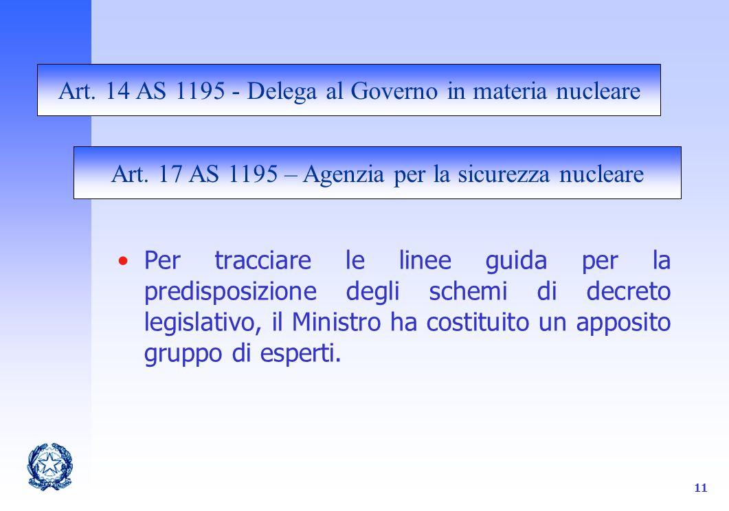 11 Per tracciare le linee guida per la predisposizione degli schemi di decreto legislativo, il Ministro ha costituito un apposito gruppo di esperti.
